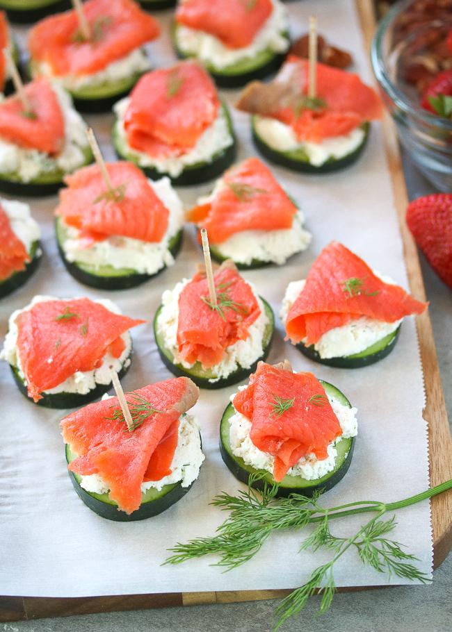 smoked salmon  herbed ricotta cucumber bites  paleo